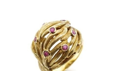 Ruby and 18ct yellow gold ring with a textured a weave body ...