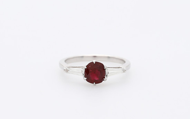 Ruby and diamonds triplet ring.