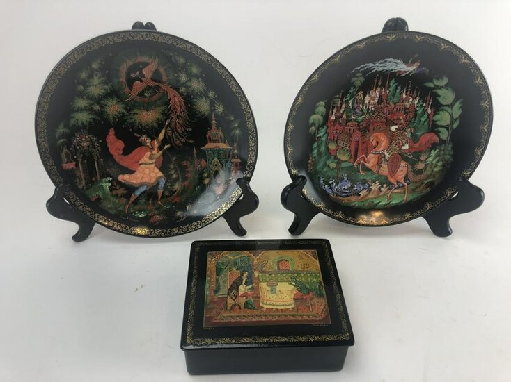 Russian Hand Painted Porcelain Plates & Wood Box