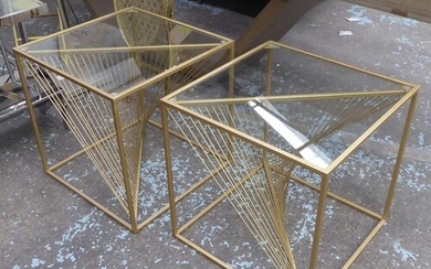 SIDE TABLES, a pair, helix design bases, gilt metal and glas...