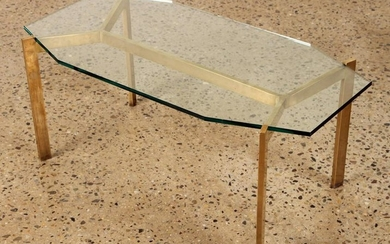 SOLID BRONZE COFFEE TABLE INTERESTING SHAPE C1960