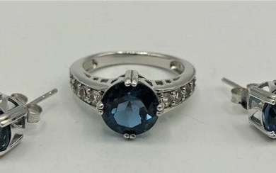 STERLING & SPINEL STONE RING And EARRINGS SET