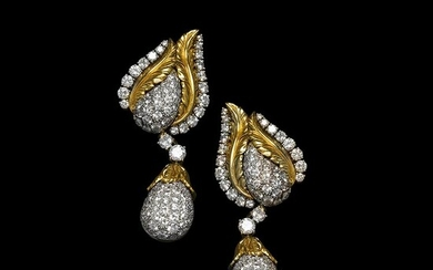 Separable diamonds gold earrings Meaningful made in Italy earrings, handmade...