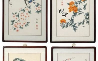 """Set of Four Chinese Watercolors, """"Four Seasons"""""""