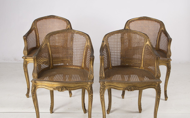 """Set of four Louis XV style """"cannè"""" armchairs, early 20th Century."""