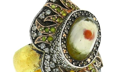 Sevan Bicakci Silver Yellow Gold Ring with Gemstones