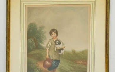 Signed Arthur B Brook Boy with Puppy Litho