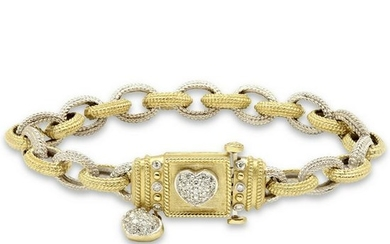 Stambolian Two-Tone White Yellow Gold Love Bracelet