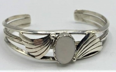 Sterling Silver Cuff Bracelet Mother Of Pearl Stone