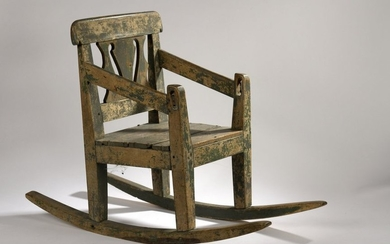 Swinging armchair for children in painted wood. 19th...