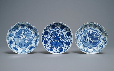 Three Chinese blue and white kraak porcelain plates...