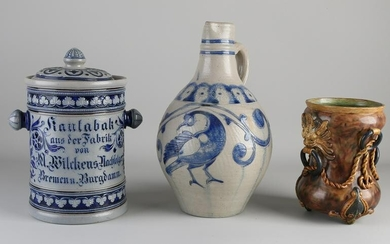 Three parts of antique German pottery.&#160 Consisting