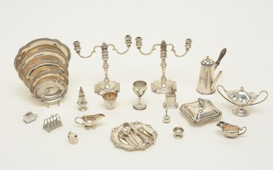 Twenty-two Georgian-style sterling silver tableware