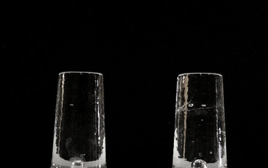 Two [2] Mid-Century Modern Glass Candle Pedestals