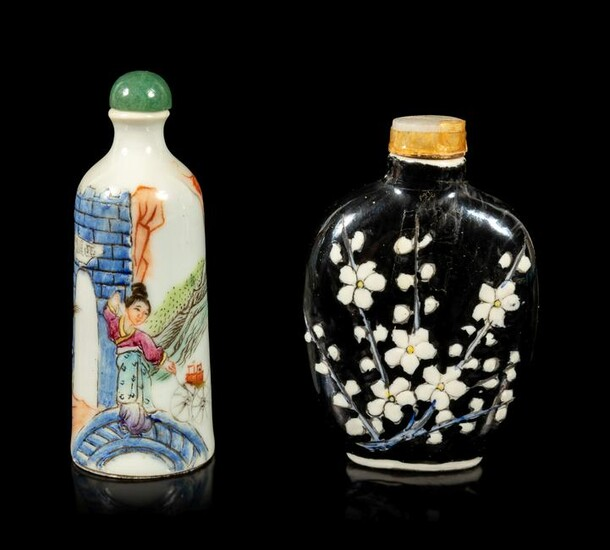 Two Chinese Famille Rose Porcelain Snuff Bottles