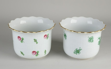 Two Hungarian Herend porcelain flower pots with floral