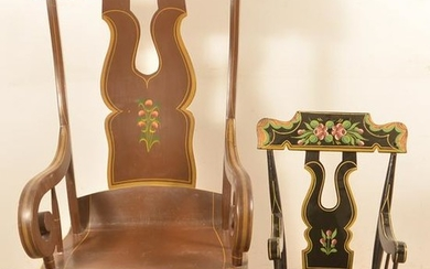 Two Painted Boot-Jack Back Rocking Chairs.
