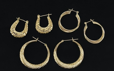 Two Pairs of 14 Karat Yellow Gold Hoop Earrings.