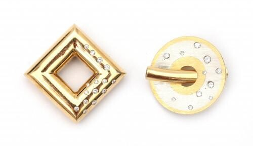 Two diamond set pendants in 18 carat gold and platinum. One round pendant in two tone set with eleven brilliant cut diamonds. And a yellow gold pendant of square design featuring fifteen brilliant cut diamonds. Total ca. 0.35 ct., G-H, ca. VS. Both...