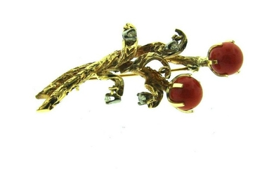 VINTAGE 14K YELLOW GOLD CORAL DIAMOND BROOCH CLIP PIN