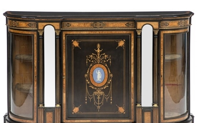 NOT SOLD. Victorian burr walnut, ebony, ebonised marquetry and gilt bronze mounted credenza. England, late...