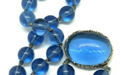 Vintage Blue Glass Beaded Pendant Necklace, Jewelry