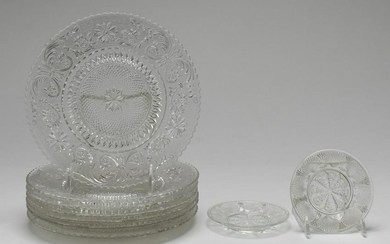 Vintage Molded Clear Glass Plates, 9