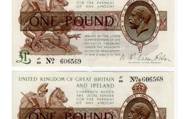 Warren Fisher 1 Pound (2) issued 1923, a very rare conecutiv...
