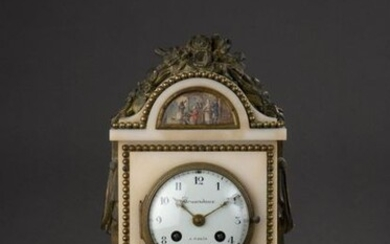 White marble and gilt bronze HANGING HANGER with a floral design. The pediment and the facade are decorated with five animated scenes in gouache.