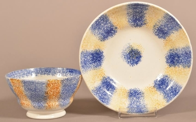 Yellow and Blue Rainbow Spatter China Cup and Saucer.