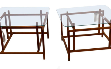 (lot of 4) Pair Henning Norgaard for Komfort glass top side tables and matching pair coffee table frames