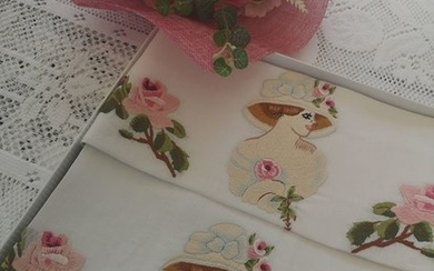 1 + 1 towels in 100% pure linen with Dame stitch embroidery - Linen - AFTER 2000