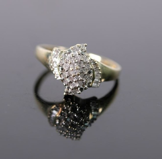 10K Yellow Gold & Diamond Cluster Ring