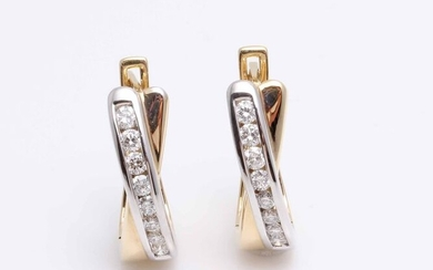 14 kt. Bicolour - Earrings - 0.50 ct Diamond