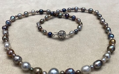 14 kt. Natural pearls, White gold, with diamonds - Certified Natural pearls GGTL Laboratory - Necklace - Diamonds
