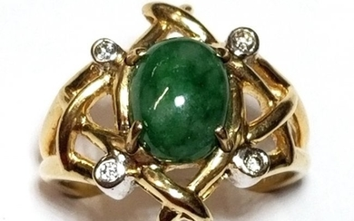 14k Gold Jadeite Jade Genuine Diamond Midcentury Freefo