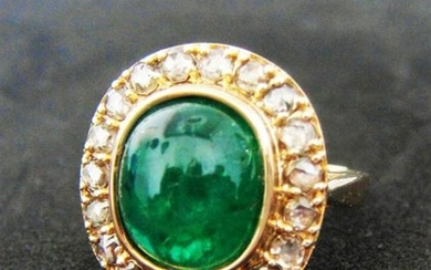 14k Hallmarked Gold Ring - Natural Certified Emerald