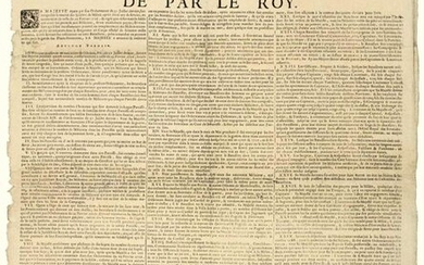 """1729. (BURGUNDY & BRESSE). MILICE. """"Ordinance of the King, for the REPLACEMENT OF THE HALF OF THE FREEDOMED MILICE"""". of January 25, 1729. followed by the Ordinance Louis Henry DE BOURBON, Prince de CONDÉ, Prince de Sang, Pair and Grand-Master of..."""