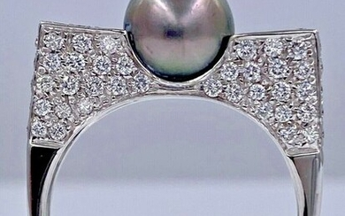 18 kt. White gold ring with 1.40ct diamonds and 1 Tahitian pearl - Without reserve price!