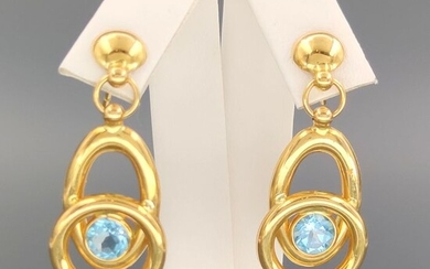 18 kt. Yellow gold - Earrings - 1.50 ct Topaz