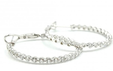 18k White Gold Inside/Outside Round Diamond Hoop