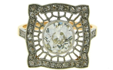 1960s Edwardian Revival 1.92 cts DIAMOND PLATINUM ROSE