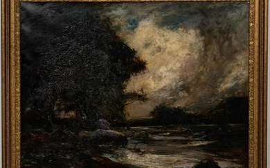"""19TH C., THOMAS MOSTYN """"THE ANGLER"""" OIL ON CANVAS"""