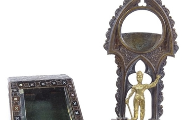 2 19th century pocket watch stands, comprising a parcel gilt...