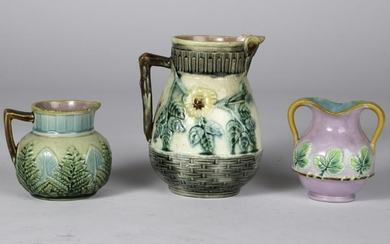 (2) SMALL MAJOLICA PITCHERS and (1) VASE