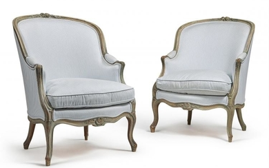 A pair of French grey painted and upholstered armchairs, 20th century