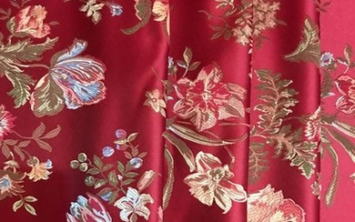 2.90 x 2.80 meters heavy dark red San Leucio damask fabric with floral decorations - Cotton, Satin - post 2000