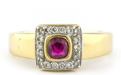 Luxury - 18 kt. Yellow gold - Ring Ruby - Diamond