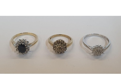 3 x 9ct rings, one yellow gold Sapphire and CZ ring, one yel...