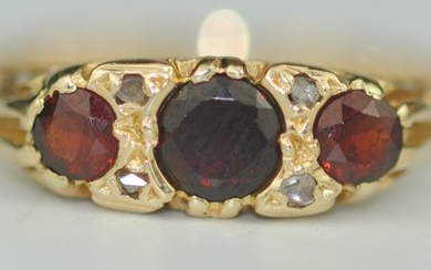 Ruby (0.53ct) & Diamond - 18 kt. Yellow gold - Ring